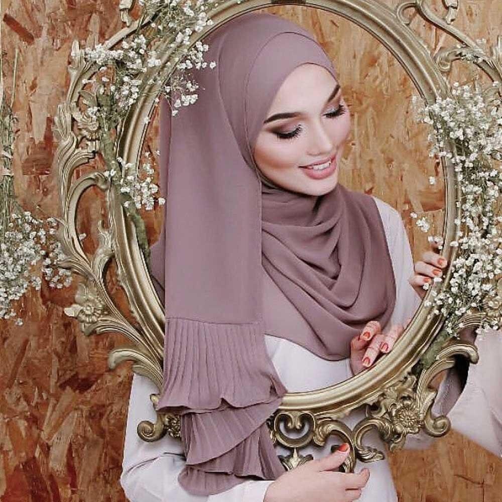 New 180*70cm Women Islam Maxi Crinkle Cloud Chiffon Hijab Scarf Shawl Muslim Long Turban Shawl Stole Wrap Jilbab Headscarf