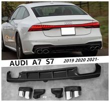 Задний спойлер и Exhause для Audi A7 S7 2019 2020 2021, высококачественный распылитель бампера из полипропилена, аксессуары для модификации автомобиля