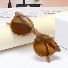 KUJUNY Mocha Milk Tea Sunglasses Vintage Round Sun Glasses Women Brand Design Sunglass Retro Ladies Korea Style Eyewear