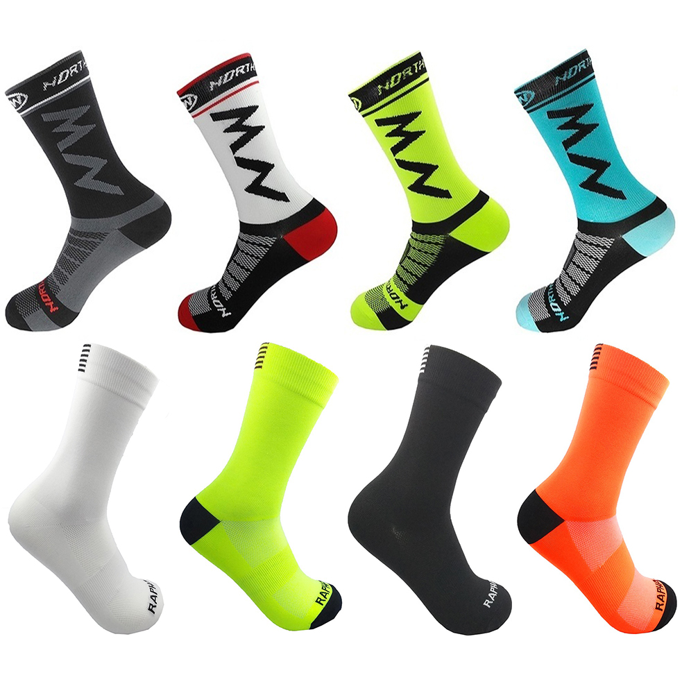 High Quality Pro Men Bike Socks MTB Bicycle Socks Breathable Road Cycling Socks Outdoor Sports Racing Socks 2019 One Pair
