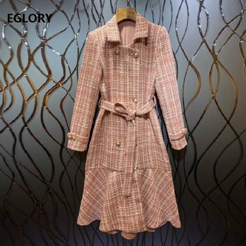 2019 automne hiver robe de haute qualité femmes col rabattu Double boutonnage manches longues mi-mollet longueur rose rouge robe en laine