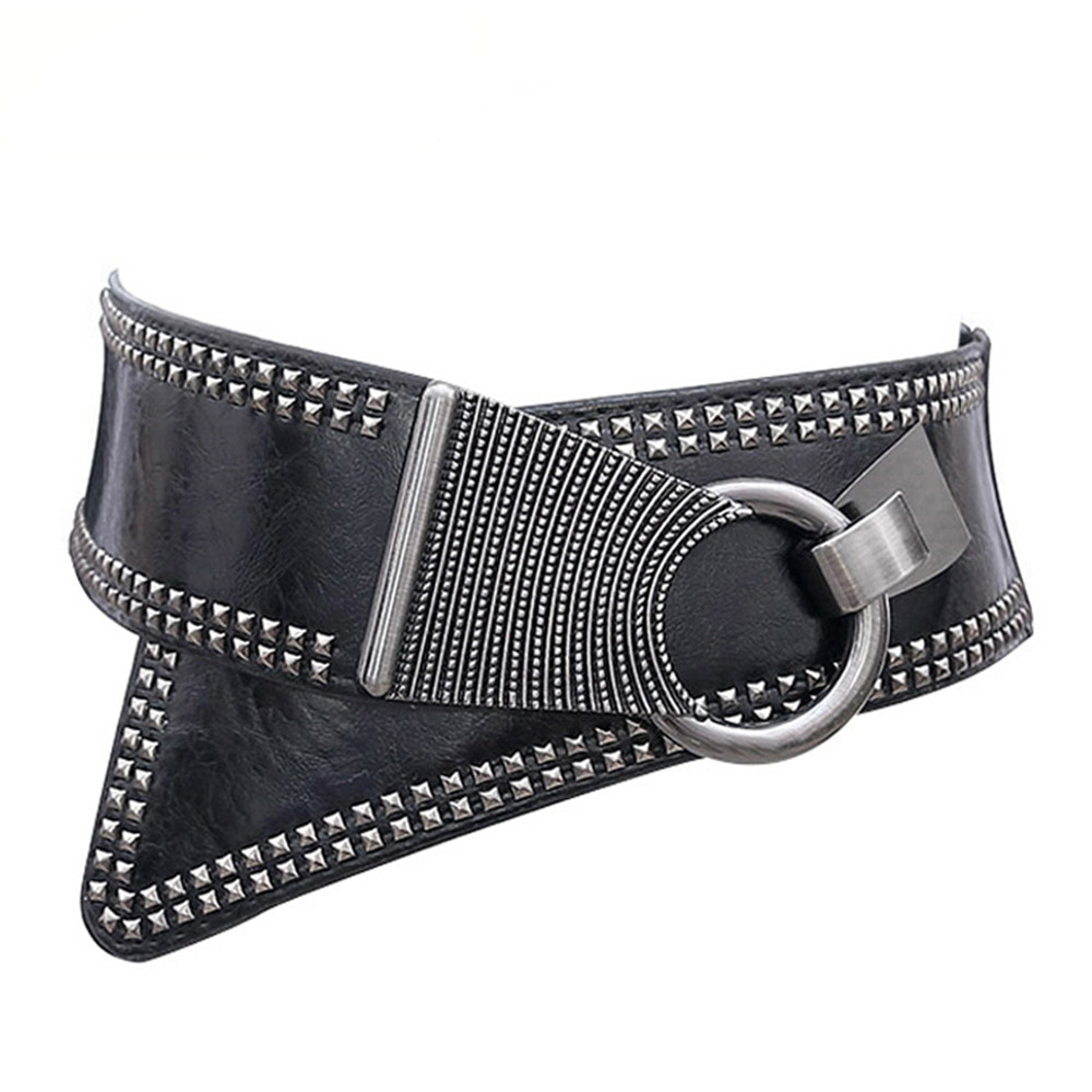 Fashion Punk Rocker Wide Belts With Revets Studs Elastic PU Leather Belt Metal Round Buckle For Women Ladies Girls