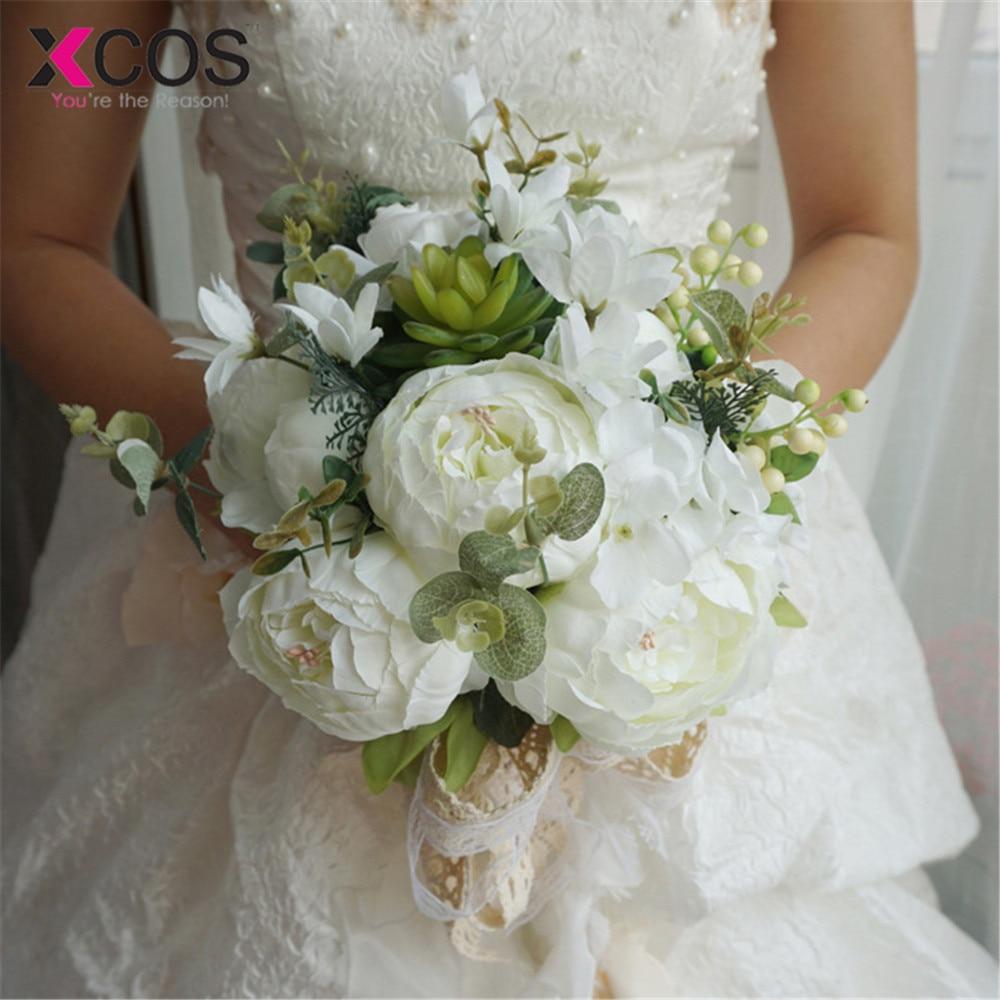 Xcos Roamtic 2019 Wedding Flowers Bridal Bouquets Artificial Silk