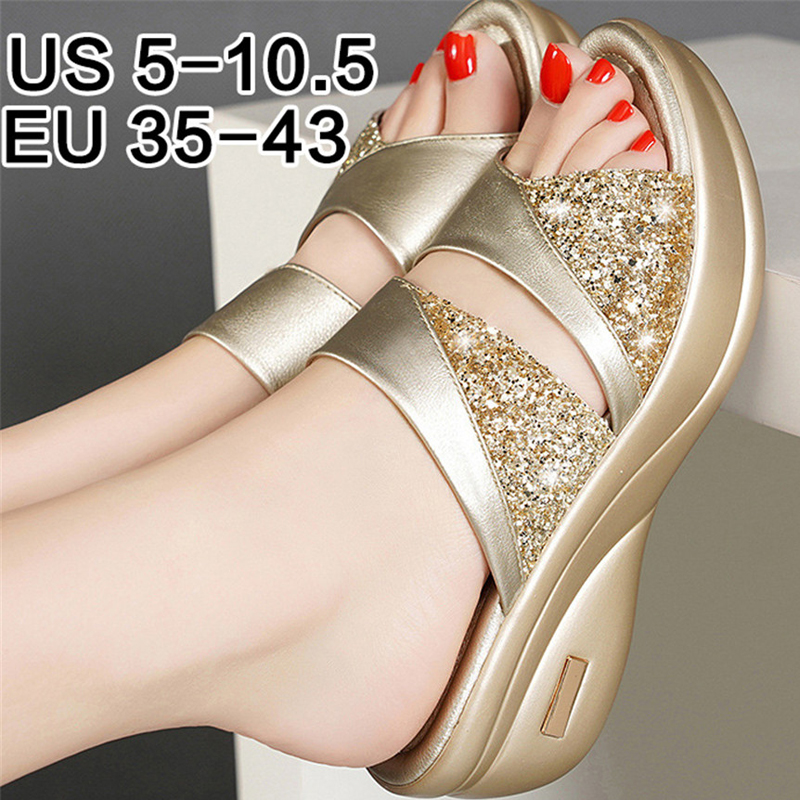 Gladiator Sandals Wedage-Shoes Woman Platform Bling High-Heels Women Mujer title=
