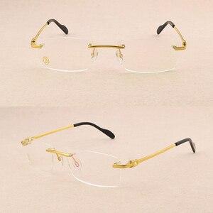 Image 2 - Square Frameless titanium glasses frame men optical glasses frame women Retro eyeglasses frame Womens spectacle frames Mens