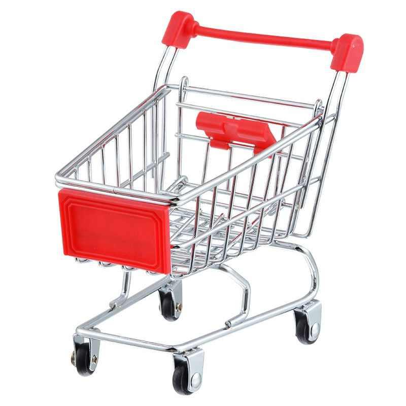 מיני סופרמרקט עגלות מיני קניות עגלת שולחן עבודה קישוט טלפון אחסון מחזיק מתנות עבור בנות צעצוע