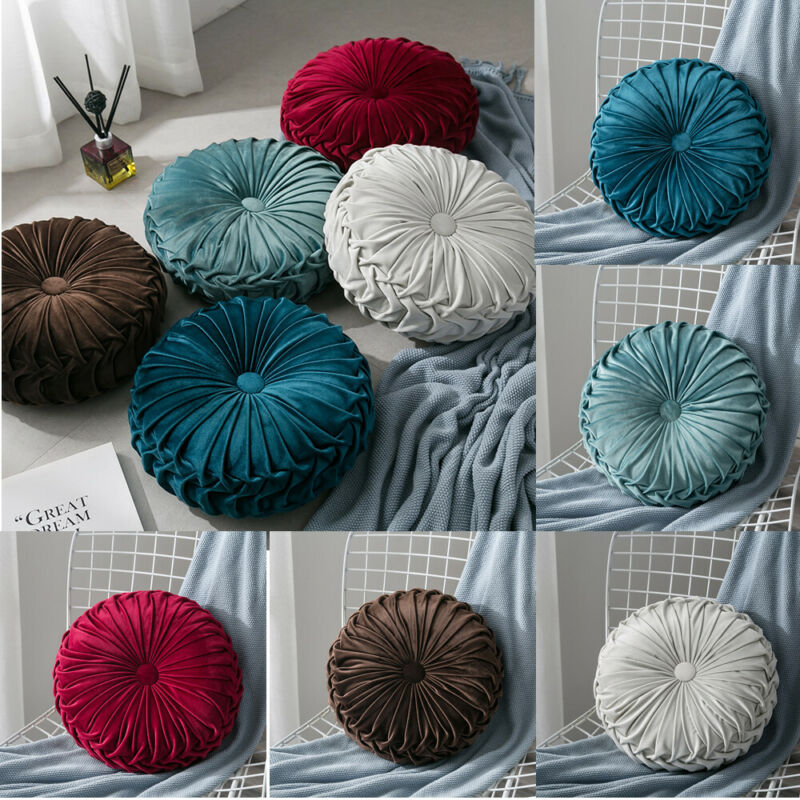 Velvet Pleated Round Floor Cushion Pillow Pouf Throw Home Sofa Decor title=