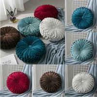 Velvet Pleated Round Floor Cushion Pillow Pouf Throw Home Sofa Decor