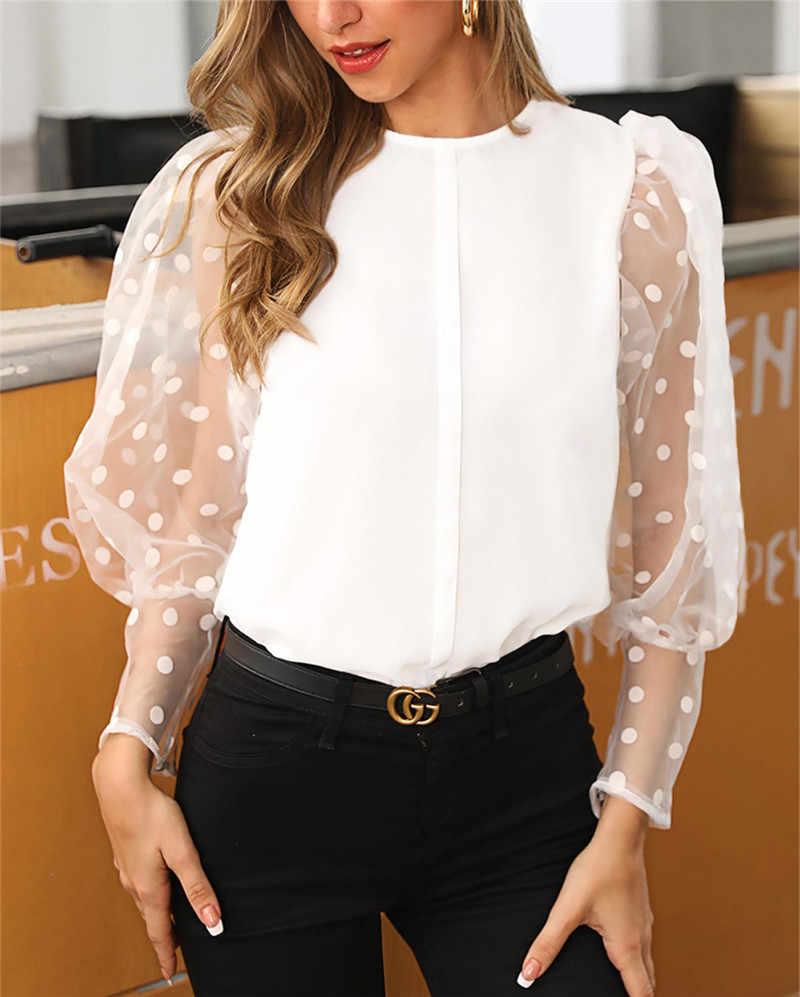 נשים אופנה ארוך שרוול Sheer Mesh חולצה סקסי פנס שרוול צמרות בציר מנוקדת מודפס שרוול בבאגי חולצה O-צוואר חולצות