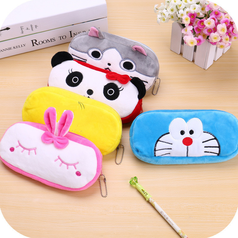 1Pc South Korean Creative Plush Stationery Bag For Girls And Boys, High Capacity Pen Bag Primary School Birthday Gift Pencil Box
