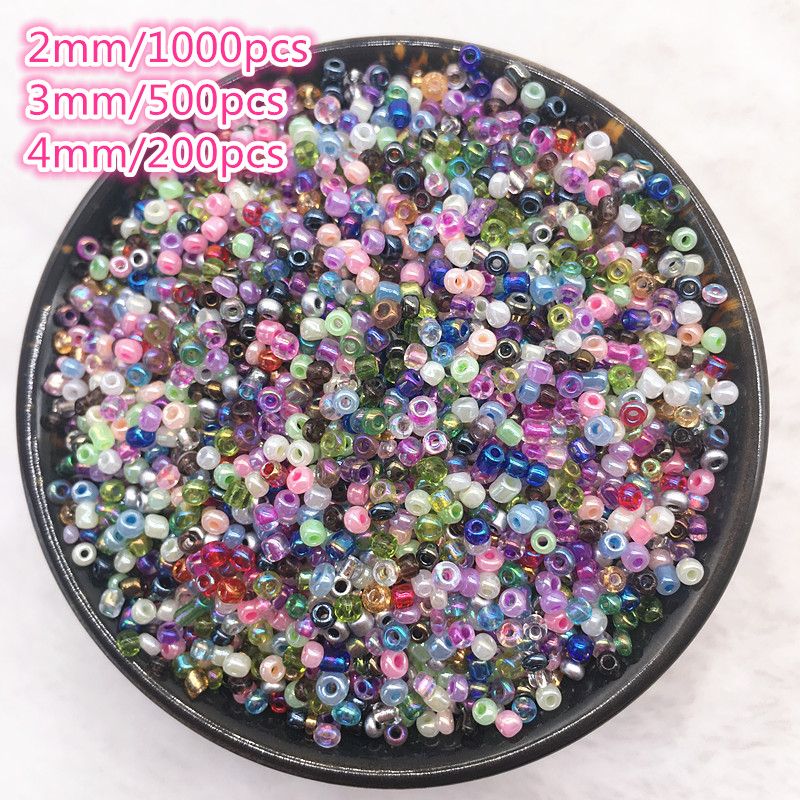 200-1000pcs/lot 2 /3 /4mm Charm Czech Glass Beads Seed Spacer Beads For Jewelry Making Handmade DIY Finding Crafts(China)