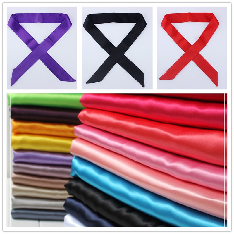 4*100cm Solid Color Slender Scarf Ribbon Tied Bag Handle Silk Scarf Multi Function Ribbon Decorative Scarf Hair Hand Head Scarf