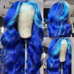 Прозрачные 613 человеческие волосы со шнуровкой спереди Atina HD, предварительно выщипанные, Омбре, синий цвет, волнистый парик, 130 Плотность, пол...
