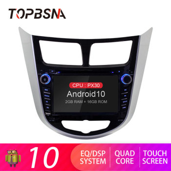 TOPBSNA Android 10 Car Multimedia Player For Hyundai Solaris accent Verna i25 GPS Navigation 1 Din Car Radio Video Stereo Audio image
