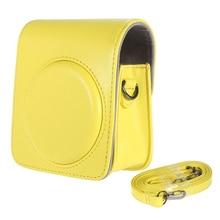 Классическая винтажная Компактная сумка из искусственной кожи чехол для Fujifilm Instax Mini 70 фотокамера моментальной печати с плечевым ремнем желтого цвета