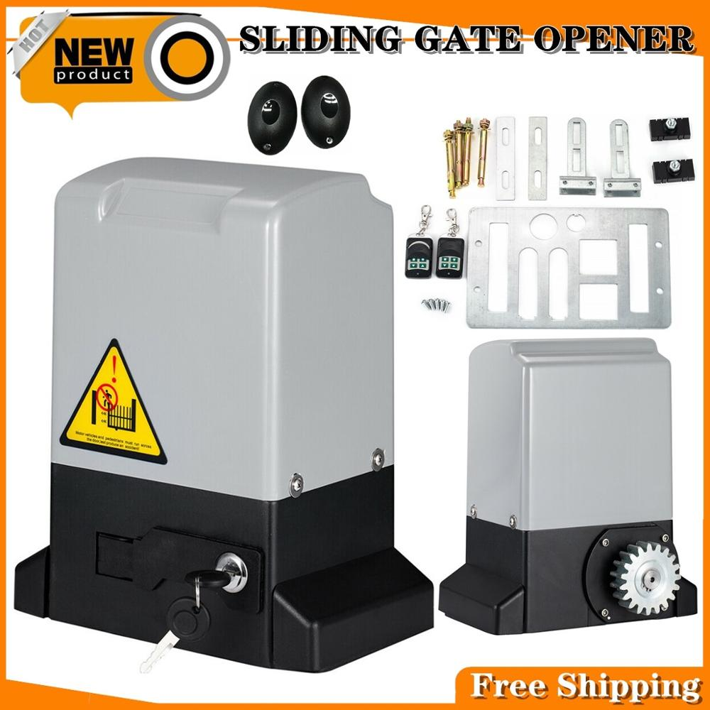 800KG 370W Automatic Electric Sliding Gate Motor Opener Gate Sliding Gautomatic Kit With Infrared Sensor + 4×4m Rack + 2 Remote