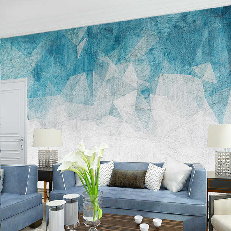 3d Abstract Geometry Photo Wall Paper Mural for Living Room TV Background Wall Decor Wallpaper for Walls 3d Blue Murals Custom
