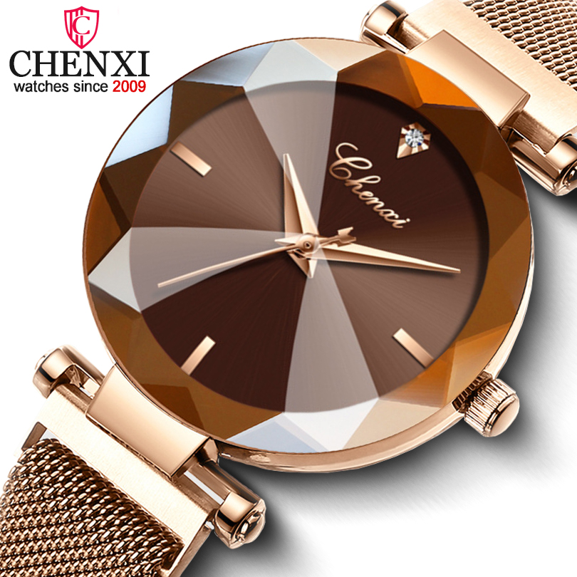 CHENXI Fashion 4 Colors Gem Cut Geometry Crystal Luxury Ladies Quartz Watches Women's Dress Watch Women Clock Zegarek Damski