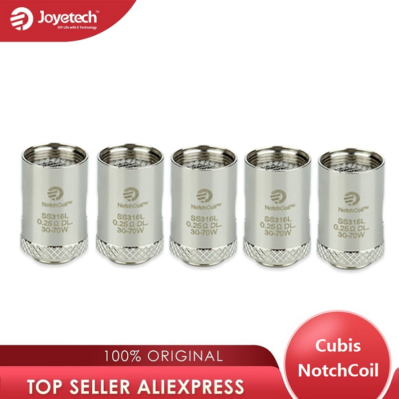 Original Joyetech Cubis NotchCoil DL Coils 0.25ohm SS316L Atomizer Head For Cuboid Mini/Cubis/Cubis Pro Ecig Vape Tank 5pcs/Lot