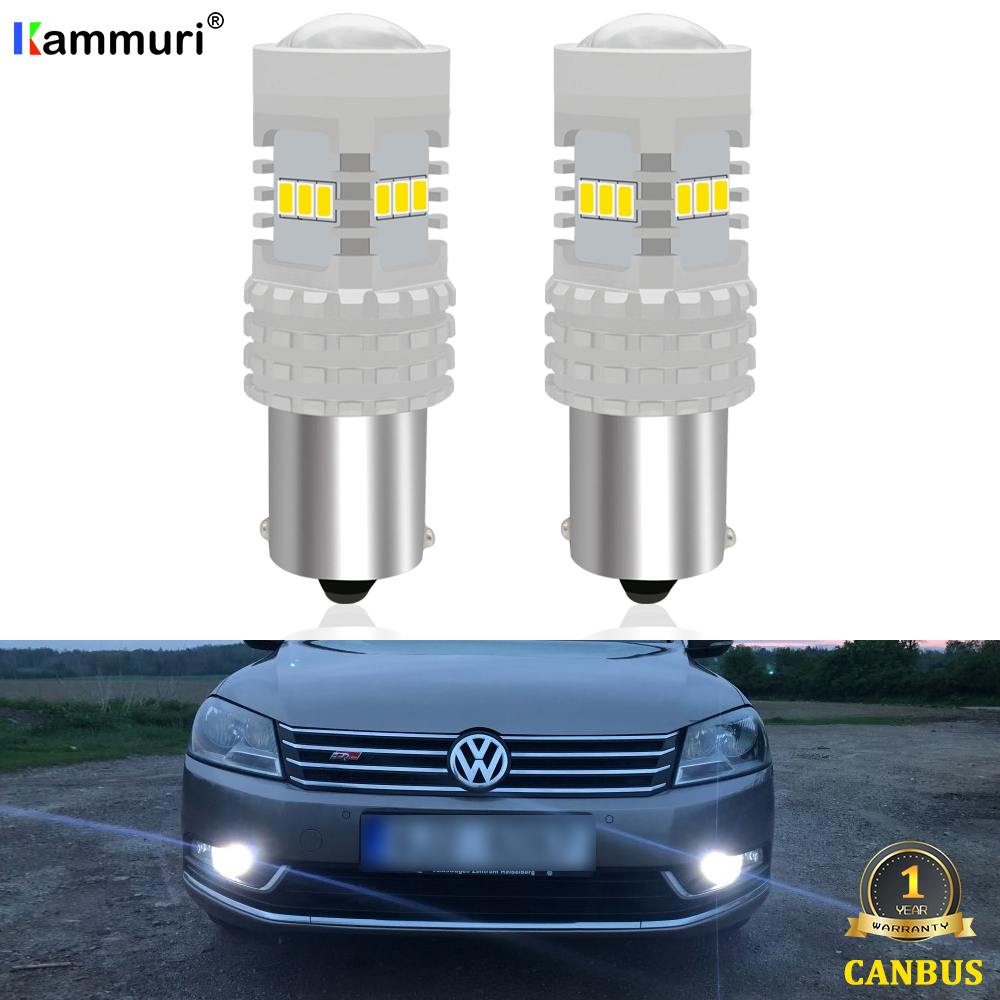 KAMMURI White Canbus <font><b>No</b></font> <font><b>Error</b></font> 1156 <font><b>P21W</b></font> <font><b>LED</b></font> Bulb for VW Volkswagen Passat B7 2011 2012 2013 2014 <font><b>led</b></font> Daytime Running Lights DRL image