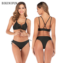 New Sexy Solid Black Bikini Women Swimsuit Strappy Bathing Suit S-L Girl Cross Back Bandage Swimwear Low Waist Micro Set