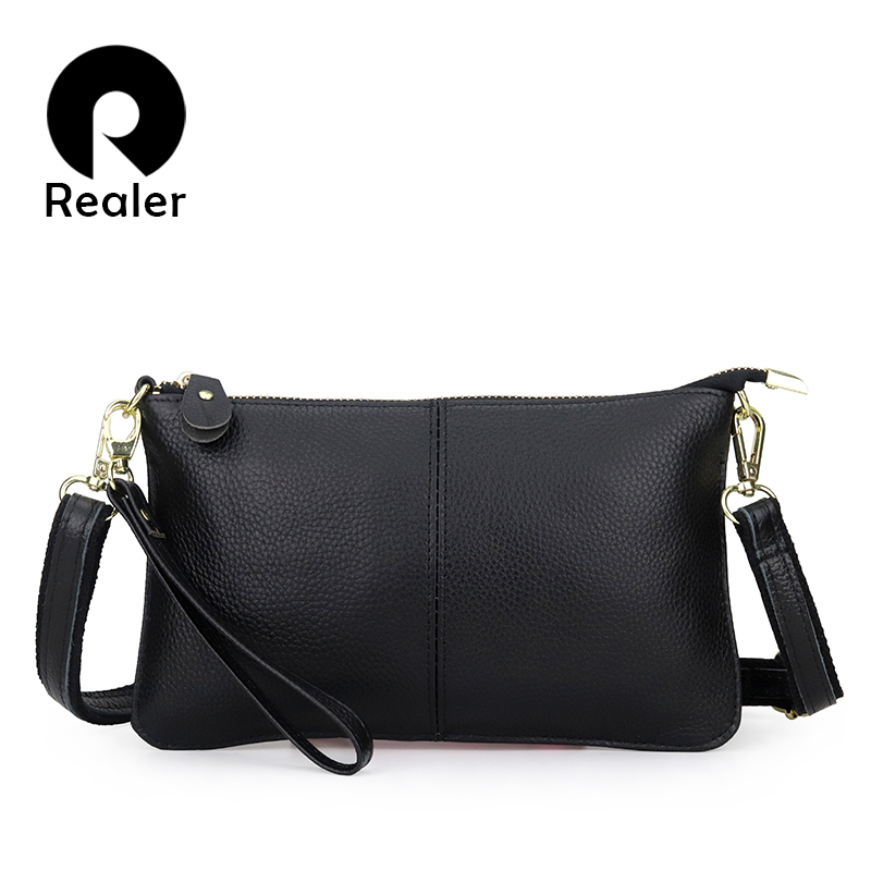 REALER Fashion Women Genuine Leather Clutches Bag Messenger Bags Ladies Shoulder Bag Crossbody Bag For Women Handbag For Ladies