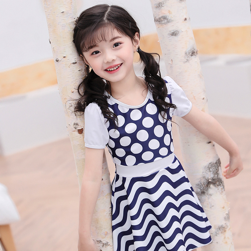 Hao Zhi Lang CHILDREN'S Swimwear GIRL'S 2019 New Style Polka Dot Dress-Cute Japanese-style Polka Dot A Generation Of Fat