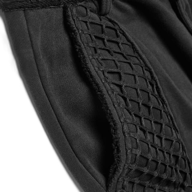 PUNK RAVE Mens Punk Rock Black Knit Trousers Casual Mens Streetwear Big Pocket Long Punk Personality Cross Pants 4