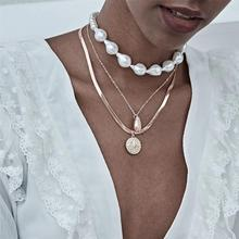 Ingemark Multi Layered Baroque Pearl Choker Necklace Collar Statement Punk Conch Shell Flower Pendant Necklaces Women Jewelry joolim high quality long simulated pearl tassel maxi necklace multi layered necklace statement jewelry wholesale