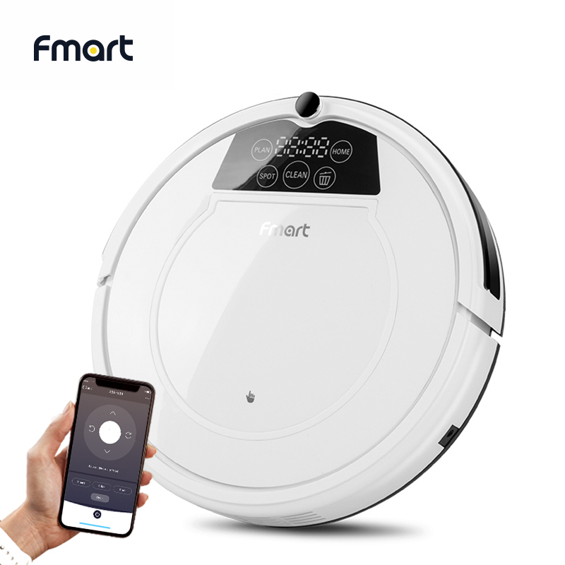 Fmart Robot-Vacuum-Cleaner Sweep&Wet Mop For Hard Floors&Carpet Pet Hair Anti Collision Automatic Recharge APP Contral E-550W(S)