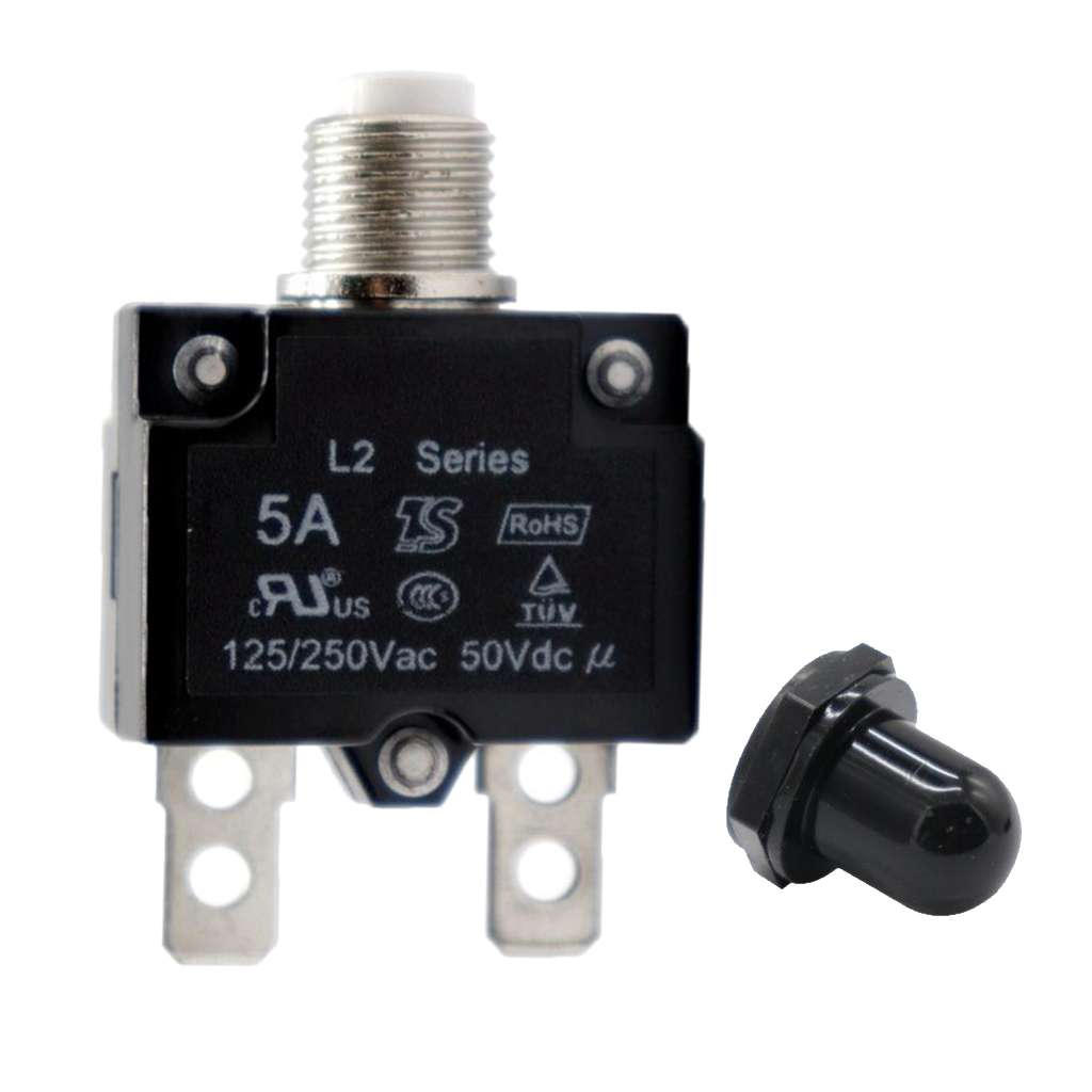 5A Circuit Breaker Overload Protector Switch Fuse Resettable With Black Waterproof Cap AC 125/250V 50V DC