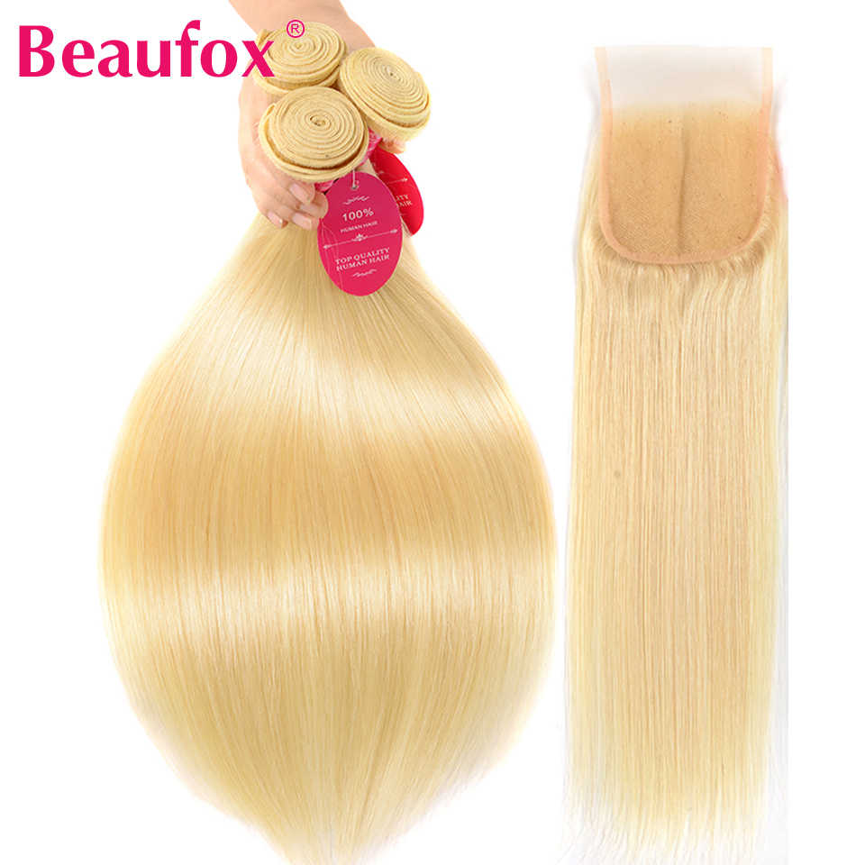 Beaufox Human Hair Bundles With Closure 613 Blonde Bundles With Closure Peruvian Straight Hair 3 Bundles With Closure Remy