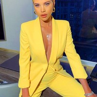 2019 Office Lady Blazer Set Yellow Solid Elegant Slim Blazer Suit Casual Women Autumn Long Sleeve Solid Pant Suit
