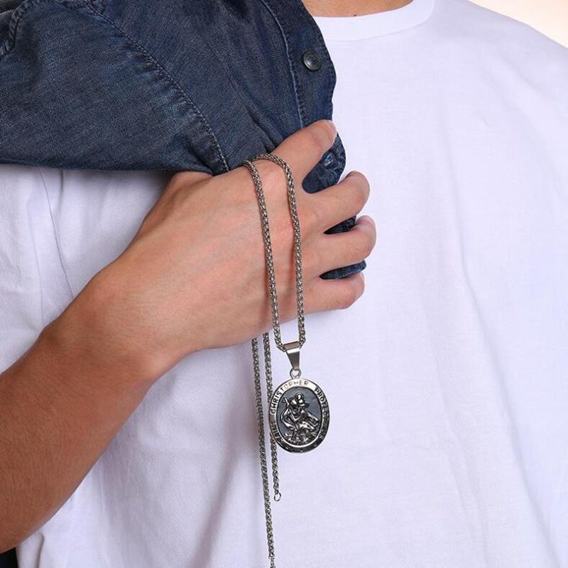 Collier et pendentif en Acier inoxydable de Saint Christopher le patron des voyageurs