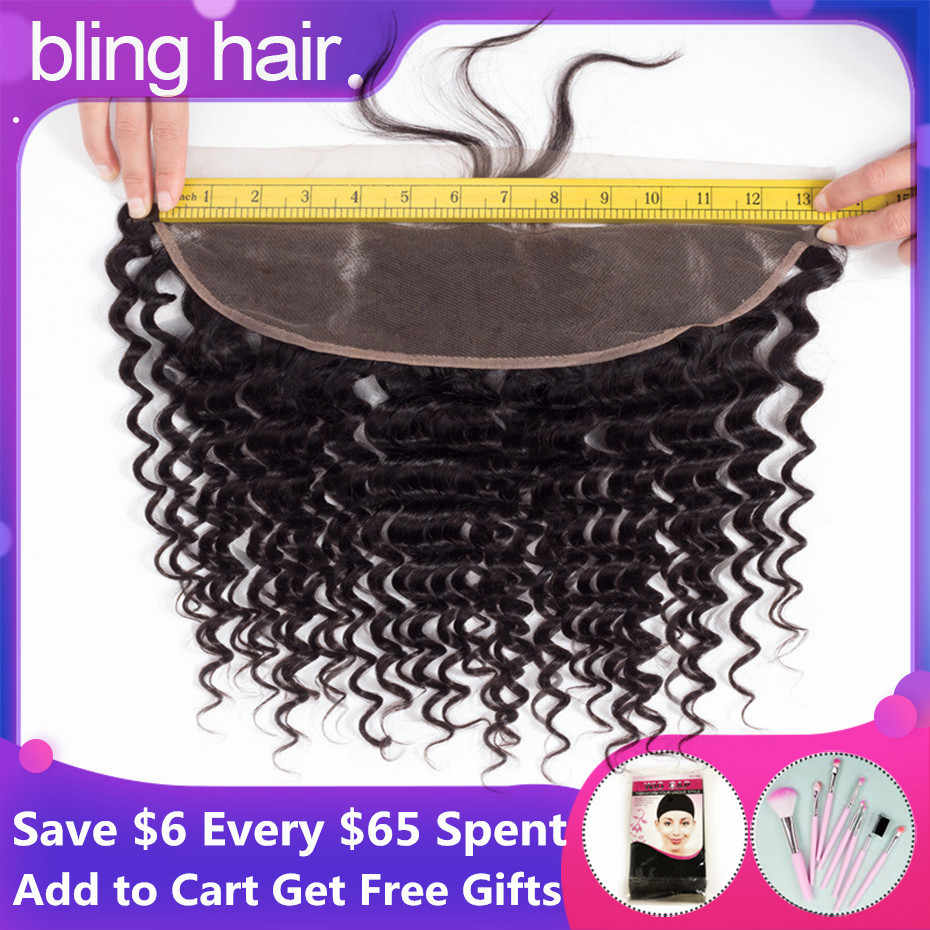 bling hair Brazilian Deep Wave Closure 13*4 Lace Frontal With Baby Hair Pre-plucked 100% Remy Human Hair Closure Natural Color