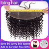 bling hair Brazilian Deep Wave Closure 13*4 Lace Frontal With Baby Hair Pre plucked 100% Remy Human Hair Closure Natural Color