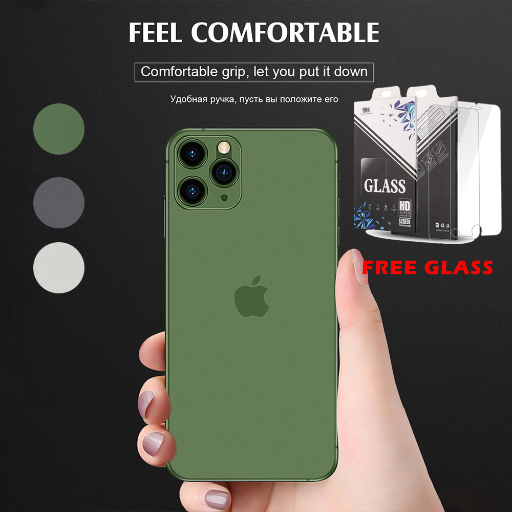 LLZ.COQUE FREE Glass Screen Protector Case for IPhone SE 2020 11 Pro Max X XS XR 6 6S 7 8 Plus Slim Bumper Phone Cover Coque