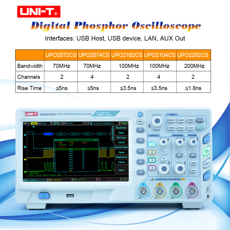 UNI-T UPO2000CS series Ultra Phosphor <font><b>Oscilloscope</b></font> Automobile Diagnosis and Electronic Maintenance 70MHz/100MHzbandwidth image