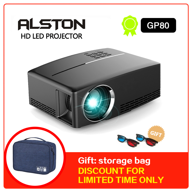 ALSTON HD LED projector 1800 Lumens 4K Projector Android 6 0 LED WiFi Video Proyector GP80