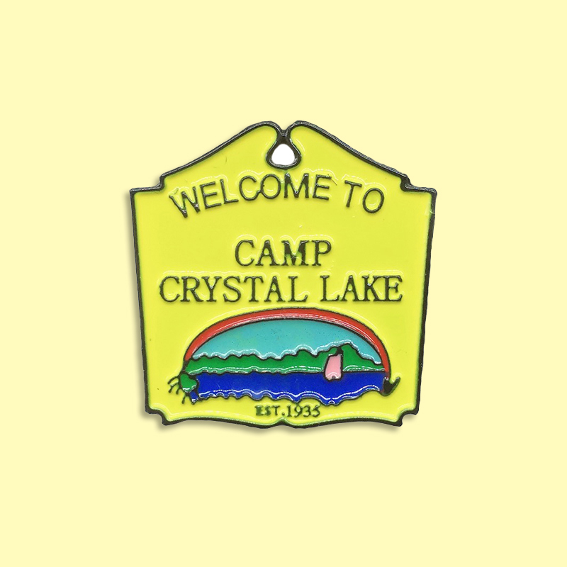 Welcome To CAMP Brooch Crystal Lake Cartoon Yellow Creative Jeans Lapel Decoration Jewelry Gift for Woman Man image