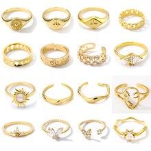 Vintage Cuban Link Rings For Women Stainless Steel Men's Flower Star Crown Face Geometric Adjustable Finger Ring Bijoux Femme