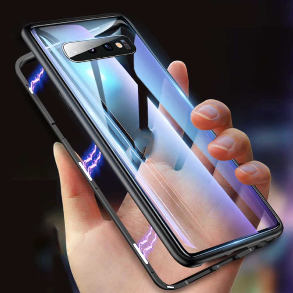 <font><b>360</b></font> Double Sided Glass Phone <font><b>Case</b></font> For <font><b>Samsung</b></font> Galaxy A51 A71 A91 S10 Note 10 Lite S8 S9 Plus Note8 <font><b>Note9</b></font> Magnetic Metal Cover image