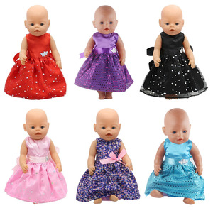 Doll Dress Clothes Handmade Dress With Butterfly Belt For 18 Inch American&43Cm Baby New Born Doll For Our Generation Girl`s Toy(China)