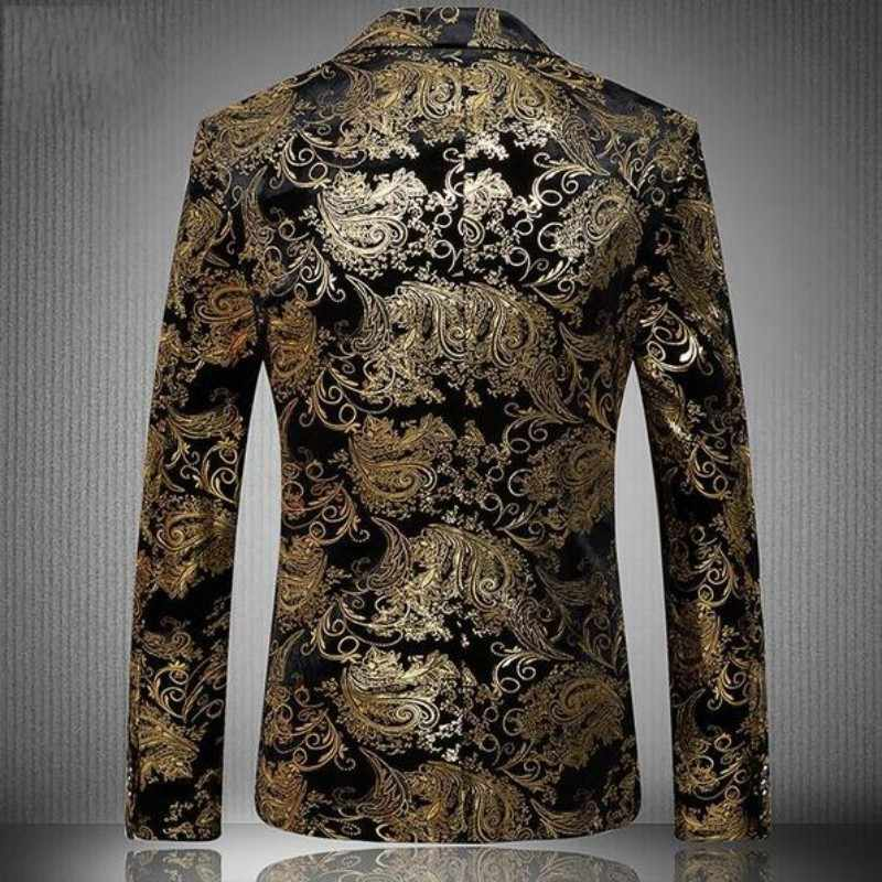 Gold Blazer Men Floral Casual Slim Blazers 2020 New Arrival Fashion Party Single Breasted Men Suit Jacket Male Blazers Plus Size