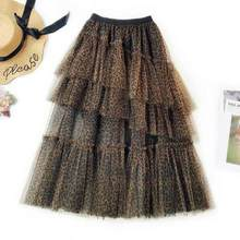 2019 Summer Leopard Floral Embroidery Tulle Skirts High waist Long skirt High Waist Pleated skirt Female Tutu Skirts DV570(China)