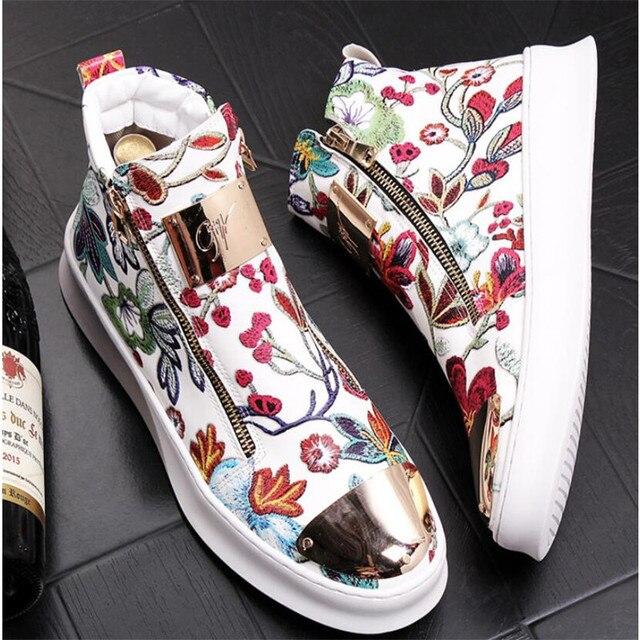 Zapatos bordados de estilo británico para hombre, zapatillas de lujo informales de goma inferior, color dorado y rojo, alta calidad, 2019 4