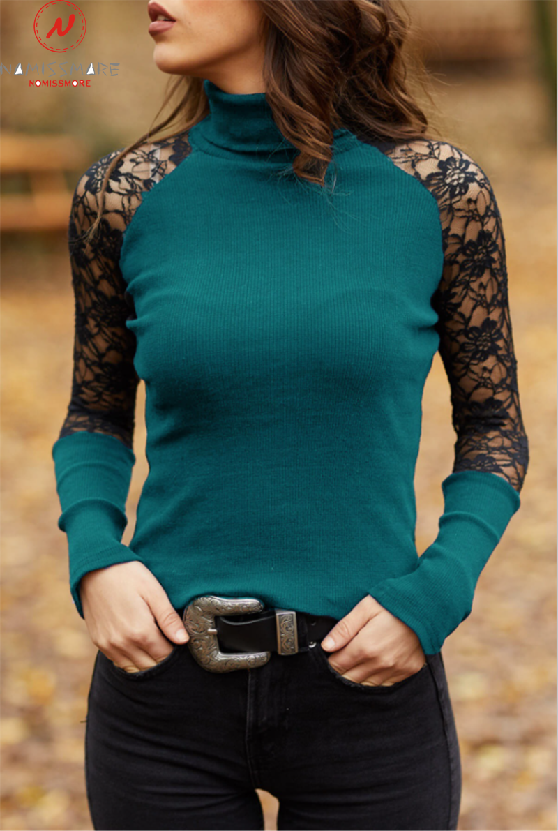 Elegant Women Spring Autumn T-Shirts Hollow Out Design Lace Decor Half High Collar Long Sleeve Slim Pullovers Top 4