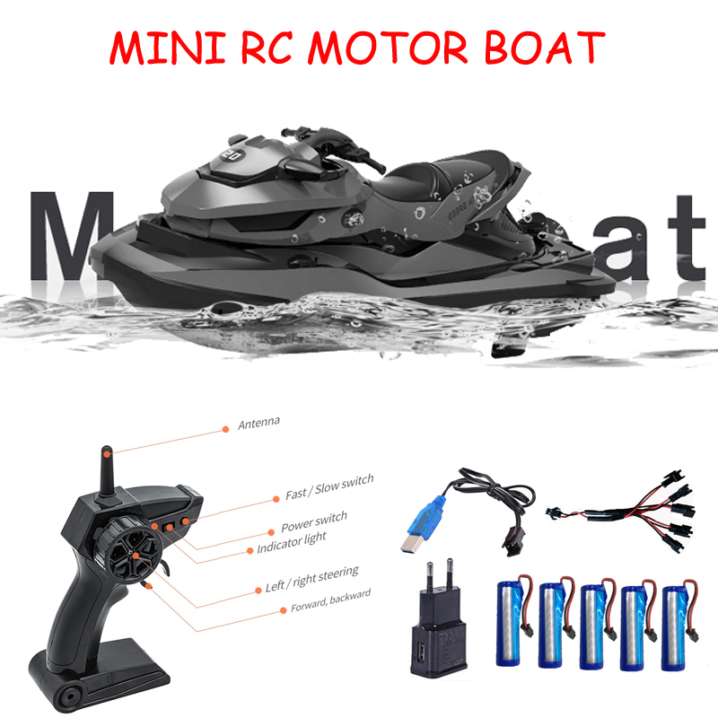 <font><b>SMRC</b></font> M5 RC Motor Boat 10km/h High Speed Racing Boat Remote Control Voltage Promp Simulation Speedboat Electric <font><b>Toy</b></font> Gift for Kid image