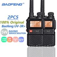 baofeng uv 2pcs Baofeng UV3R פלוס מכשיר הקשר Portable 3W UHF & VHF מיני UV 3R + UV3R פנס FM משדר Ham תחנת רדיו מכוניות (1)