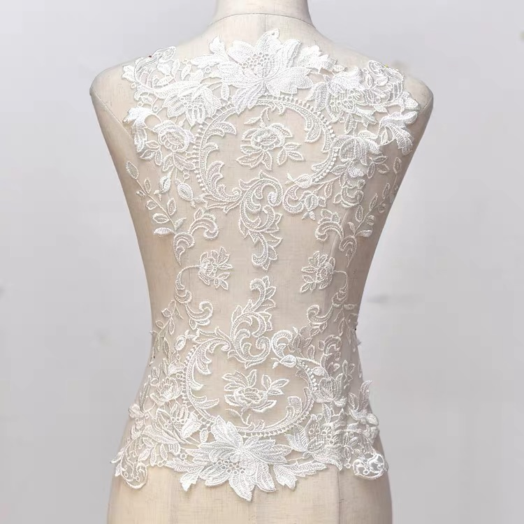 Color 3D Flower Bead Rhinestone Mesh Gauze Embroidery Fabric Lace Dress Cloth Patch  Patch Clothes Repair Wedding Dress Patch